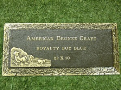 Royalty Blue Boy Bronze Memorial 22 x 10